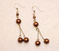 Metal Golden Brown Drop Fashion Earrings 1980'