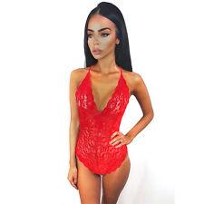 Womens Strappy Plunge V Neck Full Lace Cross Back Bodycon Bodysuit Top Sleepwear