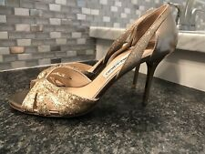 Jimmy Choo open Toe Gold Sparkle Shoes 37.5 (US 7.5)