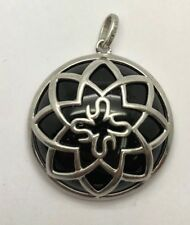 Sterling Silver 925 Cabochon Black Onyx Caged Flower Wrap Round Chunky Pendant