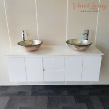 Bathroom Double Vanity Wall Hung Unit White Stone 1500mm Top Silver Glass Basins