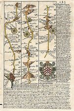 Antique map, Road from Glocester to Coventry