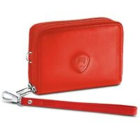 Alban Women's Red Leather RFID Blocking Wallet Zippered Closure with Wrist Strap