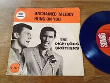 """THE RIGHTEOUS BROTHERS """"UNCHAINED MELODY"""" BLUE VINYL SINGLE NCB DENMARK SONET DK"""