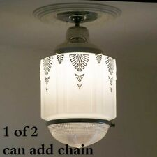 801 Vintage aRT DEco 30s Chrome Ceiling Light Fixture Pendant Glass bath 1 of 2