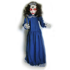 """46"""" Standing Zombie Girl Animated Lighted Sound Halloween Party Decoration Prop"""