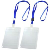 2 Pcs ID Card Badge Holder Adjustable Neck Strap Lanyard Blue Clear W5R6
