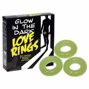 3 Pack Glow In The Dark Love Rings Adult Novelty Birthday Stag Joke For Him