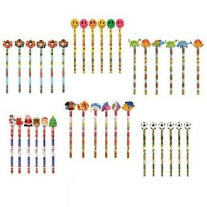 Assorted Designs Christmas Pencils With Erasers Rubbers Toppers (1, 6,12 or 24)