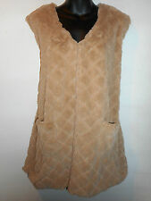 Faux Fur Vest 1X Plus Tan Sleeveless Quilted Look Silky Open Front NWT 309