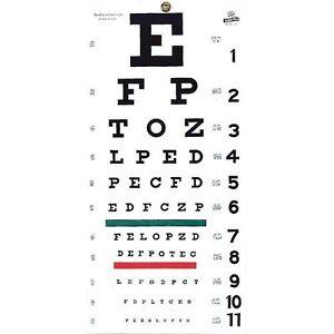 "New FULL SIZE Snellen 22"" x 11"" Plastic Eye Test Wall Eye Chart Washable NIB"