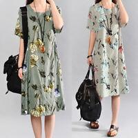 Mode Femme Belle Confor Floral Print Manche courte Plage Party Robe Mini Plus