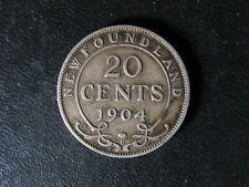 20 cents 1904H Newfoundland Canada King Edward VII c ¢ NFLD VG-10