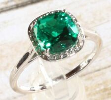 14K White Gold 2 Carat Antique Emerald & .055 CTW Diamond Halo Engagement Ring