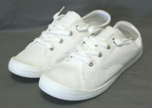 ROSY womens lace up flats casual/athletic shoe size 8.5 M white canvas upper NEW