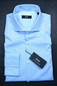 Hugo Boss Men's Jason Easy Iron Slim Fit Open Blue Cotton Dress Shirt 42 16.5