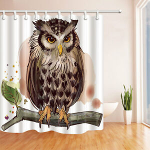 Birds Owl On Branch Waterproof Polyester Fabric Shower Curtain Set With Hooks