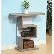 Modern Unique Style Hallway Entryway Console Sofa Table Stand Wood Dark Taupe