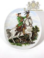 Große Ovale Thüringer Porzellan Bildplatte, Wandbild, Reliefplatte als Jäger