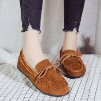 Fashion Women Casual Flats Shoes Driving Moccasins Bow Tie Loafers Boat Work 1