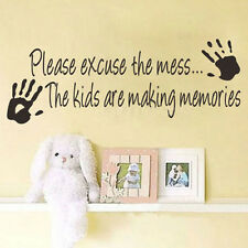 Family Wall Decal Please excuse the Mess Kids Playroom quotes Vinyl sticker