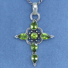 Genuine Peridot Cross Necklace Sterling Silver Victorian Filigree Large P141206
