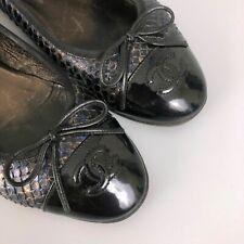 Chanel CC LOGO Classic Bow PYTHON Leather Ballerina Flat Shoes Pump Size 37.5 37