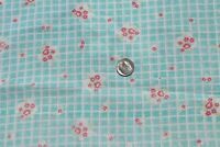 "Vintage Faded Floral Turquoise Cotton Feedsack Fabric~L-19"" X W-18"""