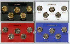 1999 State Quarter Coin Collection - Platinum Gold Philadelphia Denver Mint Set