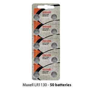 Maxell LR1130 Alkaline 1.5 Volt Battery Hologram (50 Batteries) AG10