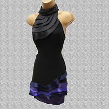 Karen Millen Black Silk Frill Decorated Polo Neck Prom Cocktail Dress 12 UK