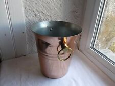 French classic copper ice champagne bucket solid brass handles