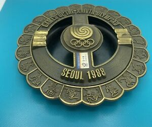 1988 SEOUL XXIV OLYMPIAD OLYMPIC GAMES COMMEMORATIVE Bronze 2 Pc Ashtray Trinket