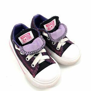 Converse Girls Double Tongue Purple Metallic Sneakers Toddler Size 6 Children's