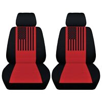 2 Front Customized Seat Covers American Flag Fits Toyota Tacoma 2010-2020