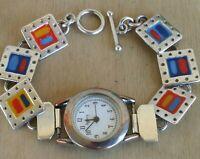 "Legacy Watch With Sterling Southwest Style Toggle Bracelet 6 3/4"" Wrist New Batt"