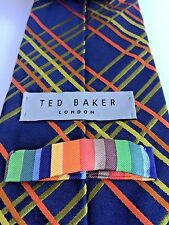Ted Baker Striped Plaid Multi Color Tie 100% Italian Silk