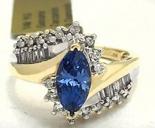 GENUINE 1 Ct TANZANITE & DIAMOND RING 14K GOLD *New with tag & FREE shipping