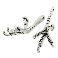 10pcs Antiqued Silver Alloy Charms Eagle Claw Shaped Pendant Findings 34x15x12mm