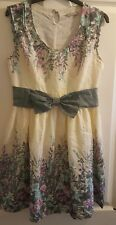 BEAUTIFUL DARLING cotton Tea dress Summer Floral Bow Knee length Size S VGC