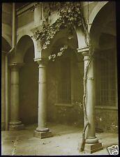 Glass Magic Lantern Slide OLD COURTYARD LUGANO DATED AUG 1924 PHOTO SWITZERLAND