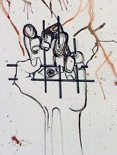 COMPOSITION. YEUX AVEC  MAIN. DESSIN ENCRE ET AQUARELLE. SIGNÉ. ESPAGNE(?). 1974