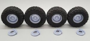"""SS2 1/24 Scale 38"""" Super Swamper Tires with 19""""x12"""" """"STEEL"""" Wheels & Brakes"""