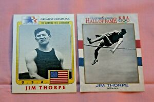 JIM THORPE LOT OF 2 1983 OLYMPICS GREATEST OLYMPIANS #37 1991 IMPEL #3 TRACK