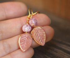 Rustic Purple Pink Leaf Earrings Wedding Gift Bridesmaids Beach Boho