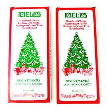 "2 Tinsel Town Christmas Tree Icicle Tinsel 18"" Long 1000 Strands New-Made USA"