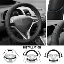 Synth Leather Steering Wheel Cover Comfort Grip Blue Stitching Standard Size