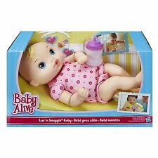 NEW HASBRO BABY ALIVE DOLL LUV N SNUGGLE BLONDE HAIR PINK A5841