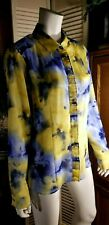 EVAN-PICONE Career Floral Sheer 2 Pc Long Sleeve Button Down Top Blue/Gold Sz 16
