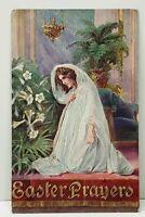 Easter Prayers Woman Kneeling in Long White Veil Embossed Postcard B25